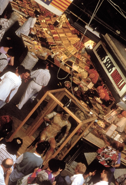 JoAn 1992, Robot. Interactive Installation. General view. Boqueria Market Barcelona. Author: Marcel·lí Antúnez Roca. Photo: Carles Rodriguez.