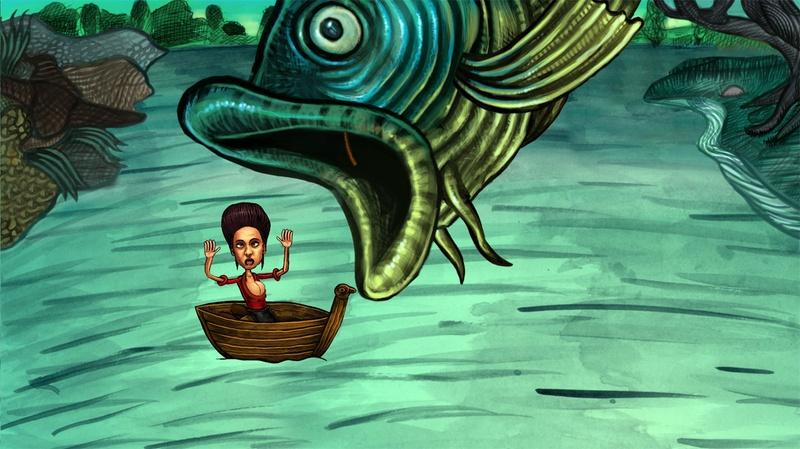 Fish eat Didi. Cartoon.