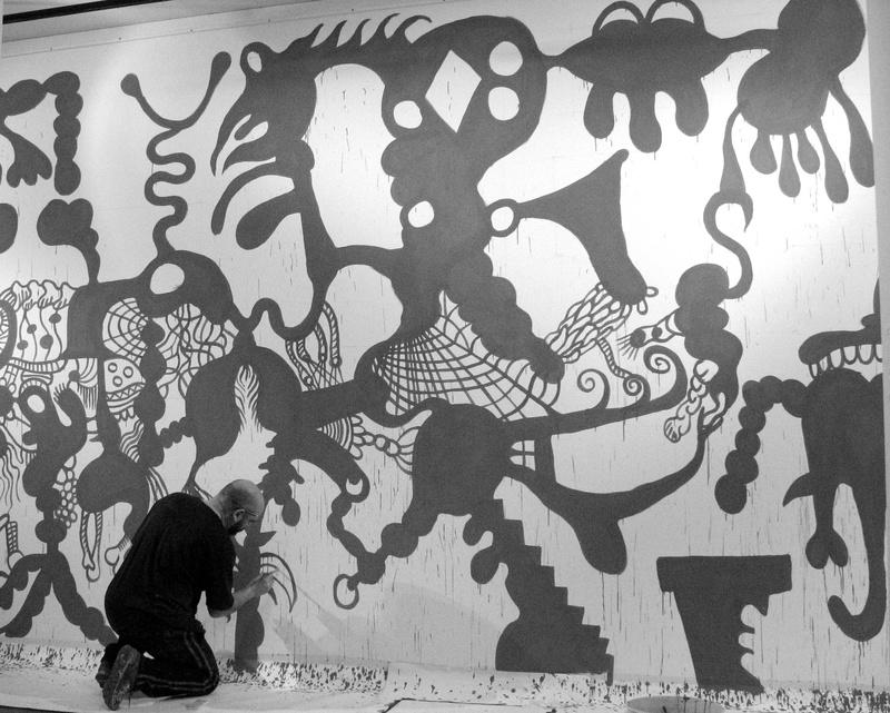 Interativita Furiosa, 2007. Exhibition. Sistematurgy mural. Making off. Gam Gallarate, Italy. Author: Marcel·lí Antúnez Roca. Photo: Angelo Zanella.