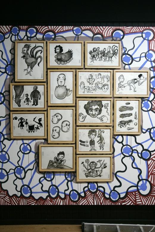 Hibridum Bestiarium, 2008. Exhibition. Dibuixant Mural On. Rojo Gallery, Barcelona. Author: Marcel·lí Antúnez Roca. Photo: Carles Rodriguez.